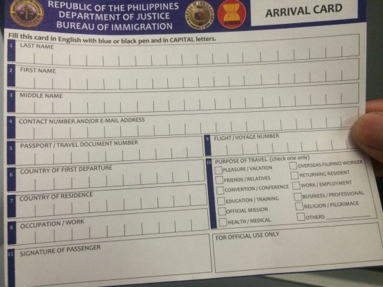 Arrival Card 2014 Edition