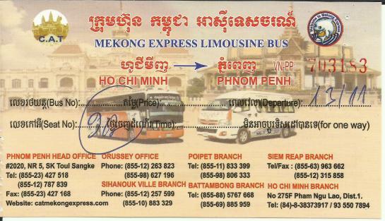 Ticket from Ho Chi Minh City to Phnom Penh