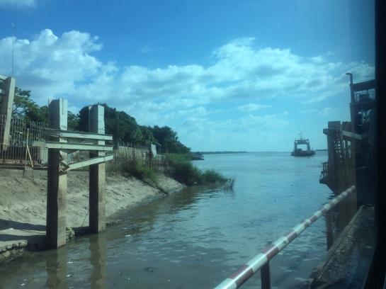 Neak Loung ferry crossing at Mekong river