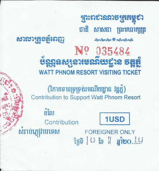 Wat Phnom Admission Ticket