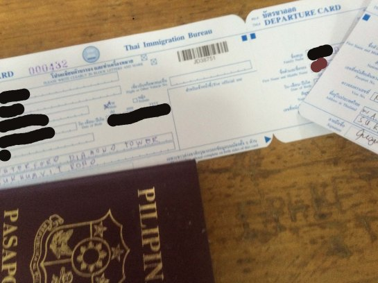 Immigration card, information asked such as name, date of birth, nationality, gender, address where you will stay in Thailand, mode of arrival.