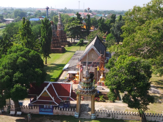 View of the temple on top the Wat Phu Khao Thong
