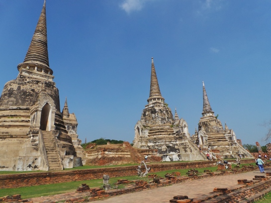 The Three Chedis where the ashes of the late Kings of Thailand were placed
