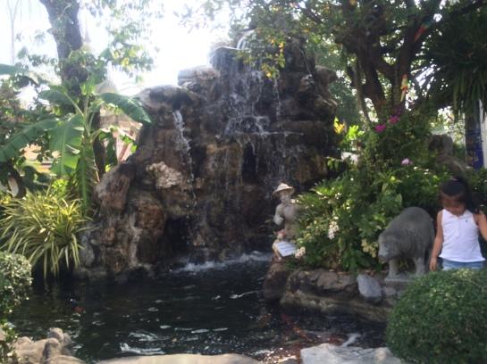 Manmade waterfall in Wat Pho
