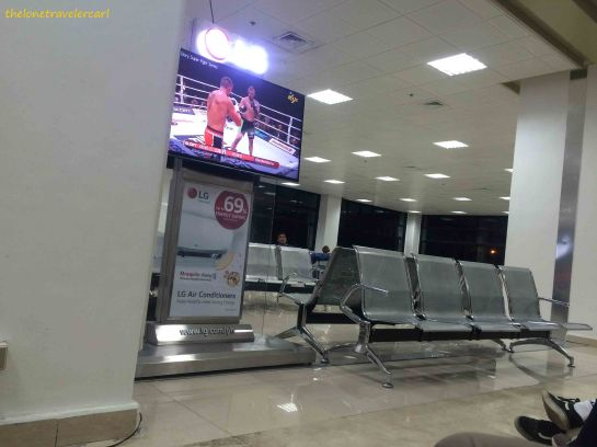 Boarding gates with TV to entertain passengers waiting for their flight